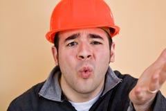 frustrerad arbetare för konstruktion Arkivbilder