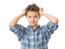 Frustrerad charmig tonårs- pojke Arkivfoto