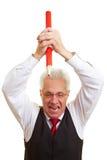 frustrerad chefblyertspennared Arkivfoto