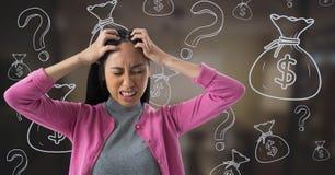 frustrerad kvinna med finanssymboler Arkivfoto