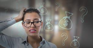 frustrerad kvinna med finanssymboler Arkivfoton