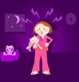 Frustrerad moder, skriande barn Arkivfoton