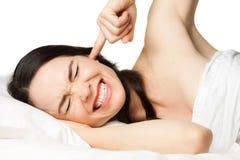 frustrerad sömnlös kvinna Arkivfoton