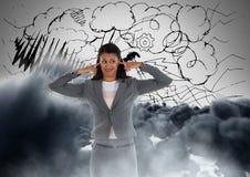 Frustrerade moln för kvinna framme Arkivbild