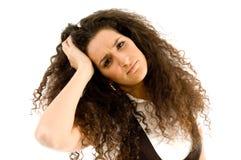 frustrerat huvud henne holdingkvinna royaltyfri bild