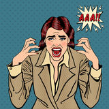 Frustrerat stressat skrika för affärskvinna Popkonst royaltyfri illustrationer