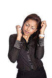 Frustriert und herauf Geschäftsfrau betont lizenzfreie stockfotografie