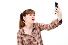 Frustrierte Frau am Telefon stockfotografie