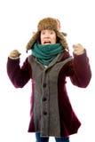 Frustrierte junge Frau in der warmen Kleidung Lizenzfreies Stockfoto