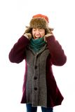 Frustrierte junge Frau in der warmen Kleidung Stockbild