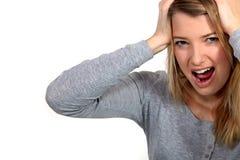 Frustrierte schreiende Frau Lizenzfreie Stockfotografie