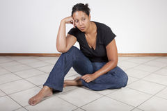 Frustrierte schwarze Frau Stockfoto