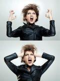 Frustrierte und verärgerte Frau ist schreiend Stockbilder