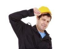 Frustrierter Arbeiter Stockbild