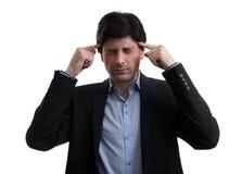 Frustrierter Geschäftsmann mit Kopfschmerzen lizenzfreies stockfoto
