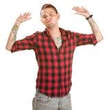 Frustrierter Mann mit den Händen oben Stockbilder
