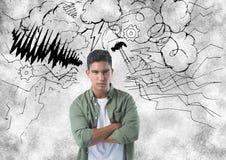 frustrierter Mann mit Sturm im Hintergrund Stockbild