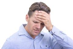 Frustrierter Mann oder Kopfschmerzen lizenzfreies stockbild