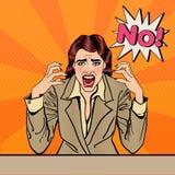 Frustriertes betontes Geschäftsfrau-Schreien kein Pop-Art Lizenzfreie Stockfotos