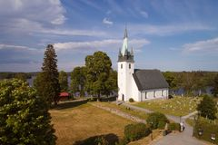 Frustuna church. Countryside church in Frustuna, near Gneasta in the Swedish province of Sodermanland during the summer season Stock Image