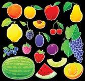 Fruta ajustada no preto Imagem de Stock