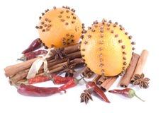 Fruta alaranjada e especiarias Fotos de Stock Royalty Free