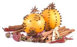 Fruta alaranjada e especiarias Fotografia de Stock Royalty Free