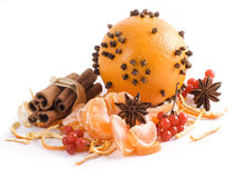 Fruta alaranjada e especiarias Fotografia de Stock