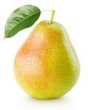 Fruta amarilla roja de la pera con la hoja aislada en blanco Fotografía de archivo