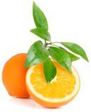 Fruta anaranjada con las hojas Fotos de archivo