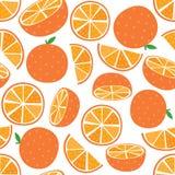Fruta anaranjada del vector inconsútil con la hoja y la rebanada Fotografía de archivo libre de regalías