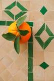 Fruta anaranjada marroquí en el mosaico de cerámica Foto de archivo libre de regalías
