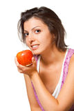 Fruta angular da mulher do perfil Fotografia de Stock