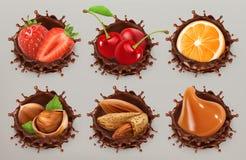 Fruta, bayas y nueces Sistema del icono del vector del chapoteo 3d del chocolate ilustración del vector