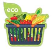 Fruta beneficiosa de la comida fresca del supermercado del eco del carro Foto de archivo