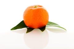 Fruta cítrica anaranjada sin pelar fresca del mandarín con las hojas verdes aisladas Fotos de archivo libres de regalías
