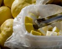 Fruta cítrica del oroblanco del muestreo en el mercado de los granjeros Imágenes de archivo libres de regalías