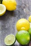 Fruta cítrica fresca en la tabla de madera rústica - cal, limón y menta Imagen de archivo