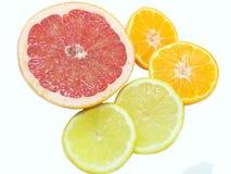 Fruta cítrica - frutas anaranjadas del pomelo rosado, del limón y de la mandarina en un fondo blanco foto de archivo