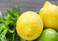 Fruta cítrica jugosa en la tabla de madera rústica - cal, limón y menta Foto de archivo libre de regalías