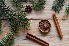Fruta cítrica secada con los palillos de canela, estrella del anís en el fondo de madera adornado con las ramas de árbol de navid Fotos de archivo libres de regalías