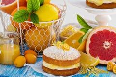 Fruta cítrica Victoria Sponge Cake con la cuajada de limón Fotografía de archivo libre de regalías