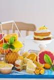 Fruta cítrica Victoria Sponge Cake con la cuajada de limón Imagen de archivo