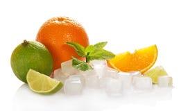 Fruta cítrica y cubos del hielo imagen de archivo
