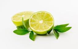 Fruta Cal y hojas de menta verdes Imagen de archivo libre de regalías