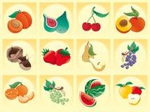 Fruta com fundo Imagens de Stock
