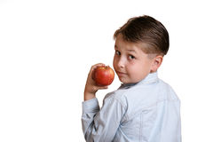 Fruta da terra arrendada da criança fotografia de stock