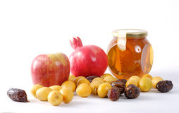 Fruta de Apple y de la miel y de la palma Imagen de archivo libre de regalías