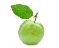 Fruta de guayaba entera con la hoja verde aislada en blanco Imagen de archivo libre de regalías