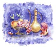 Fruta de la acuarela en un florero Imagenes de archivo